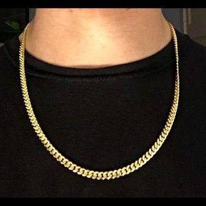 Gold Chain Miami Cuban 22in 5mm .925 Italy